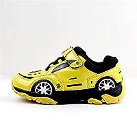 キッズシューズ 子供靴 ベビーシューズ 秋冬 車の人々 子供 スポーツシューズ三次元モデリング子供 靴男の子 スポーツシューズ ファーストシューズ 通園 通学 運動会 記念日 子供スニーカー ベビー靴 KKOBOLI (Color : Yellow, Size : 30(Inside:19.5CM))