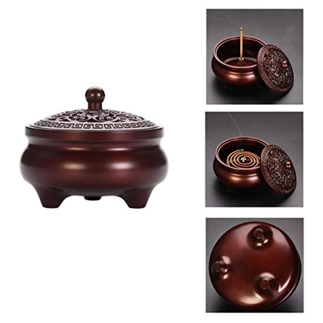 より平らな熱狂的な寓話芳香器?アロマバーナー 純銅製メカニズム香炉シンプルでエレガントな香炉内三脚アロマセラピー炉 アロマバーナー (Color : Purple Lotus)