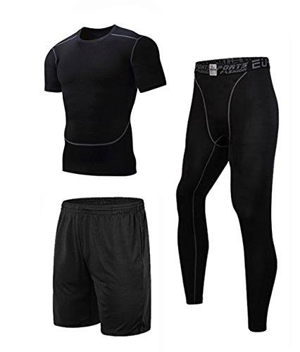 上下セット ドライメッシュ スポーツシャツ ショートパンツ メンズ ブラック L