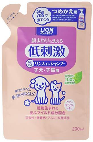 ペットキレイ 顔まわりも洗える 泡リンスインシャンプー つめかえ用 子犬・子猫用 詰替え200ml
