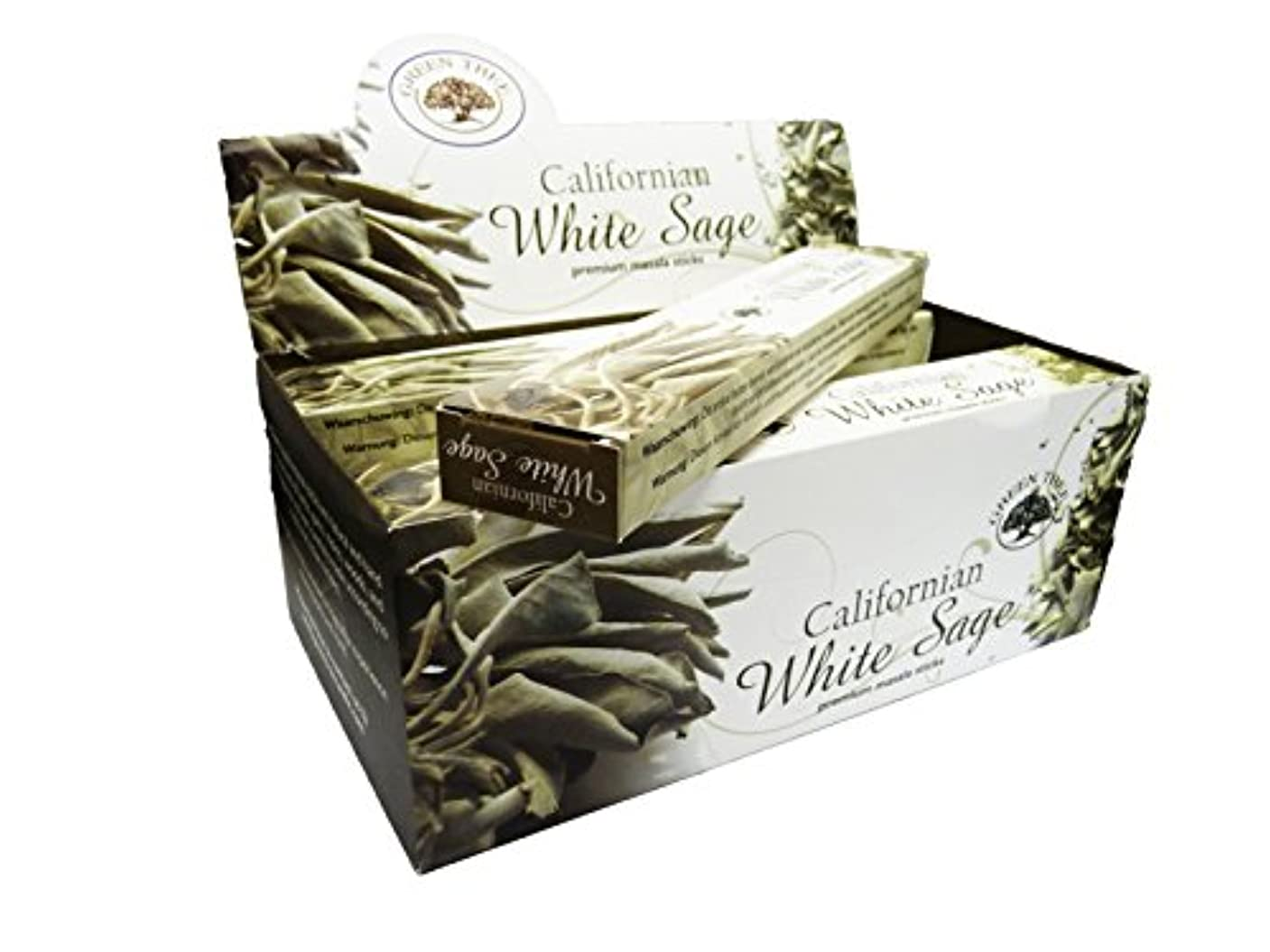 コミット生産的ためらうグリーンツリーCalifornianホワイトセージお香ボックス12のパック