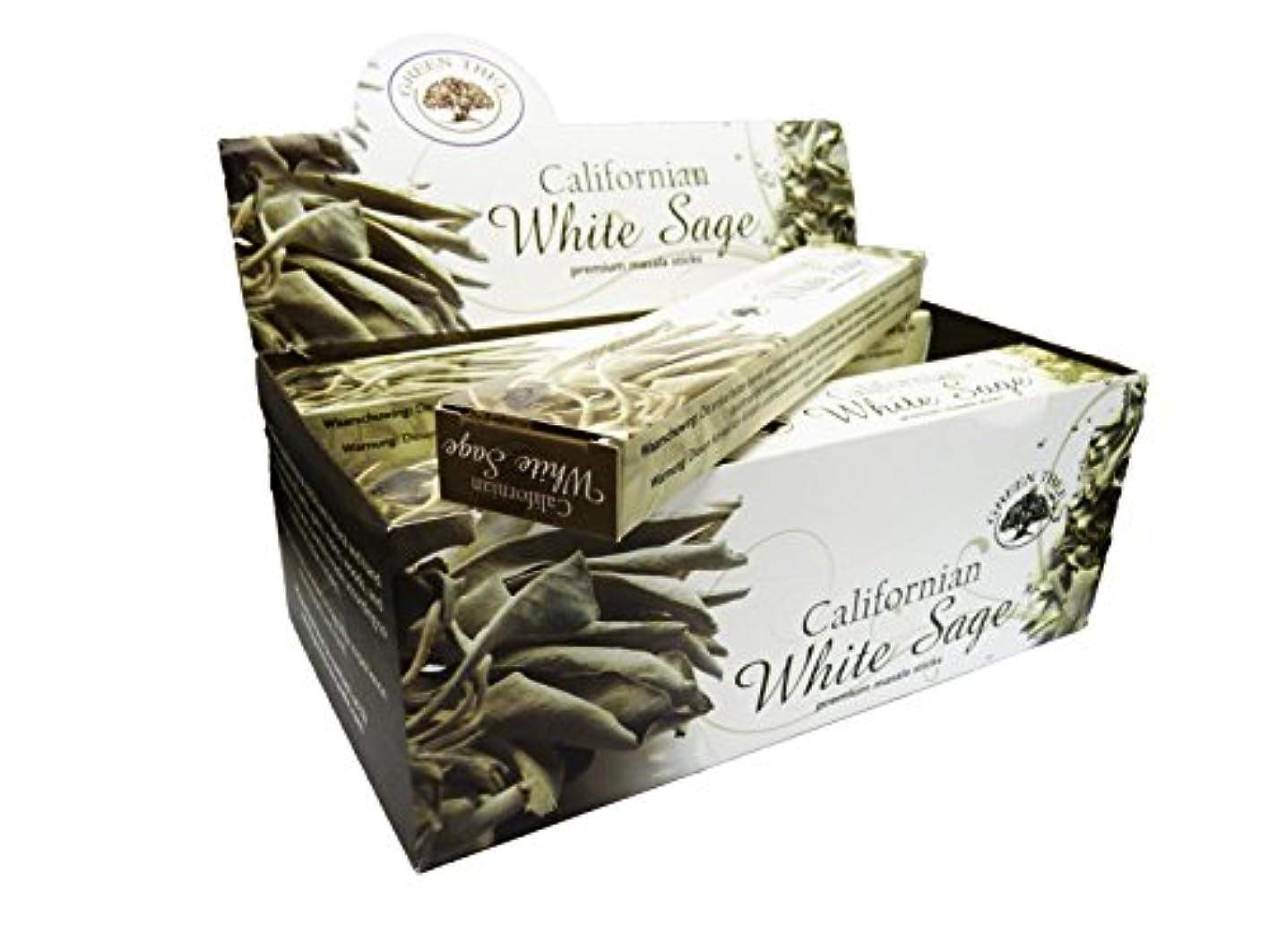 暫定落ち着く勃起グリーンツリーCalifornianホワイトセージお香ボックス12のパック