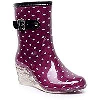 MEIGUIshop Rain Boots - Fashion Tube Buckle Side Zip high Heel Transparent rain Boots