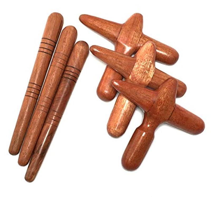 医薬品悲しいことに関係する木製 ツボ押し棒 2種類×3セット マッサージ棒 フットマッサージ (3)