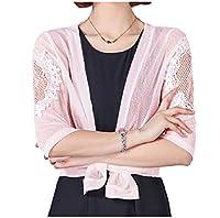 Tootess 女性の3分の4スリーブショールメッシュオープンフロントシュガーは、ボレロカーディガンクロップド Pink M