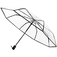 Transparnt Umbella Windproof Travel Folding Umbrella, Portble Auto Open Close Button and Upgraded Comfort Handle, Shileded Lightweight with 8 Ribs for Women