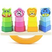 (アワンキー) Aoneky バランス ゲーム パズル 積み木 木製 ブロック 知育 おもちゃ アニマル 贈り物 収納袋付き
