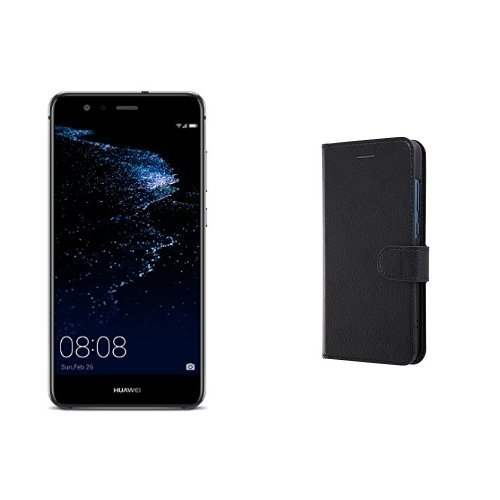 Huawei 5.2型 P10 lite SIMフリースマートフォン ミッドナイトブラック 【日本正規代理店品】(手帳型ケースセット)