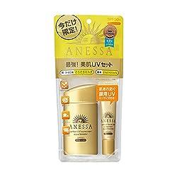 汗・水に触れると紫外線をブロックする膜が強くなる「アクアブースター技術」と「スーパーウォータープルーフ」搭載の最強*UVミルクに、化粧もちがよくなる下地効果のある顔用UVジェルミニサイズが付いたお得なセット。せっけんでスルリと落とせます。○美肌エッセンス(バラ果実エキス、ヒアルロン酸、グリセリン(保湿)):強烈な紫外線による乾燥ダメージから肌を守る○光スタミナ技術:くりかえし強い紫外線を浴びても、製剤を安定に保ち肌を守る*アネッサ内ウォータープルーフ効果として   ...