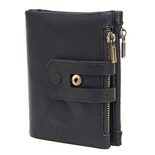 Emostya 財布 メンズ 本革 二つ折り財布 ボタン コンパクト 15枚収納カード 大容量 ファスナー 小銭入れ RFIDブロッキング スキミング防止 黒