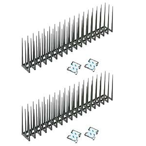 【剣山式鳩よけ】バードレスマット2型 2本+両面テープ付き止め金具4個セット【針高15cm】