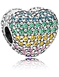 Pandora Pave Open My Heart Clip Multicolored Charm 797221NRPMX