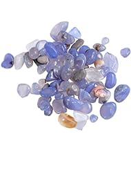 Vosarea 2パック自然砕いたクリスタルロック不規則な形状のヒーリングストーンズや花瓶植物サワークリームガーデン(青い瑪瑙)