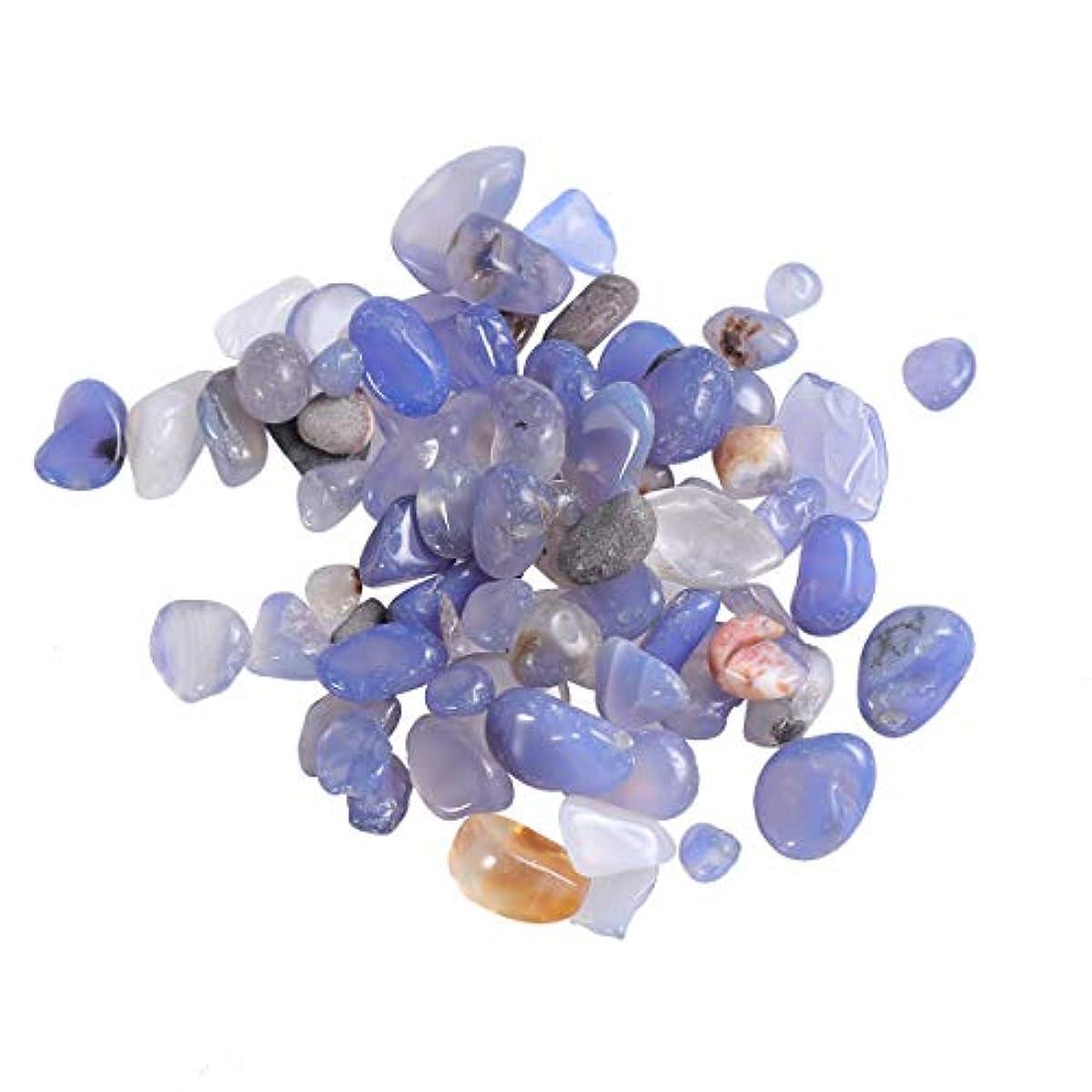 不適当午後おもてなしVosarea 2パック自然砕いたクリスタルロック不規則な形状のヒーリングストーンズや花瓶植物サワークリームガーデン(青い瑪瑙)