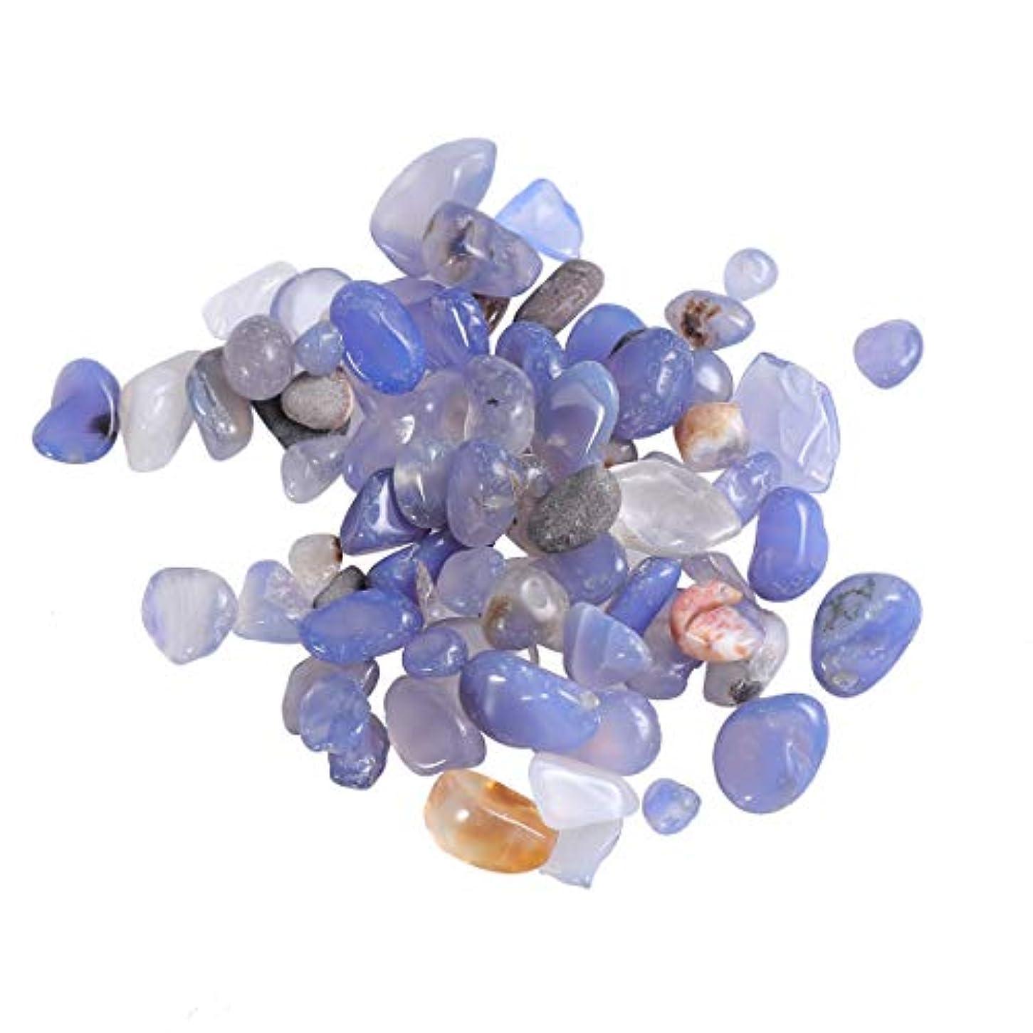 試す夢中コーンウォールVosarea 2パック自然砕いたクリスタルロック不規則な形状のヒーリングストーンズや花瓶植物サワークリームガーデン(青い瑪瑙)