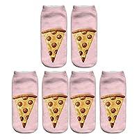(デマ―クト)De.Markt レディース 靴下 3D食べ物柄 ソックス 柔らかい カラフル 可愛い 軽量 通気性抜群 1色3足組