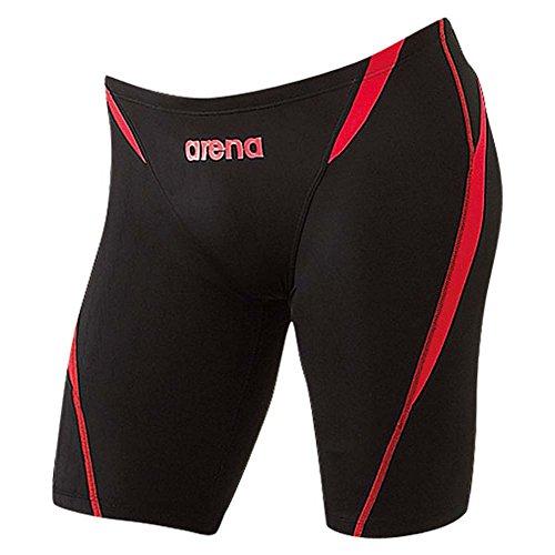 arena(アリーナ) メンズ 競泳用 水着 ハーフスパッツ X バイソン ブラック×レッドR FAR-2508MC BKRR Lサイズ