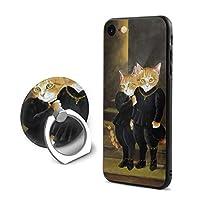 猫 カップル 貴族 IPhoneケース IPhone 7/8用 携帯電話 スマホ カバー スマホケース IPhoneカバー 耐衝撃 軽量 シンプル ケース おしゃれ スマートフォン フィンガーリング付き リング付き