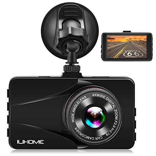 ドライブレコーダー ILIHOME 1080P Full HD 3.0インチ画面 170°広視野角 1200万画素 常時録画 衝撃録画 駐車モニター 高速起動 WDR LED信号機対応 車載カメラ 1年保証