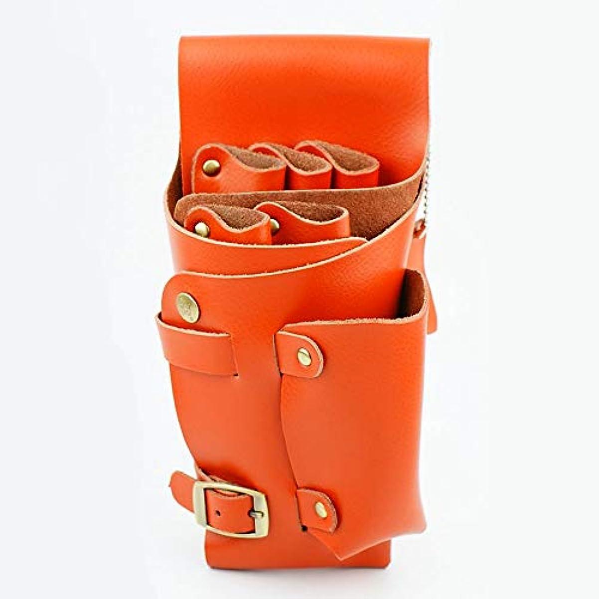 ボス郊外乱すYWAWJ ショルダーベルト髪シザーホルスター理髪バッグポーチ付きヘアスタイリストホルスターポーチレザー理容髪シザーくしホルスターウエスト (Color : Orange)