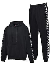 バーカー パンツ 上下セット メンズ/カッパ Kappa BANDA プルオーバーパーカー ジョガーパンツ スポーツウェア 男性用 トレーニング カジュアル ストリート ブラック 黒 セットアップ/ K08Y2MT64M