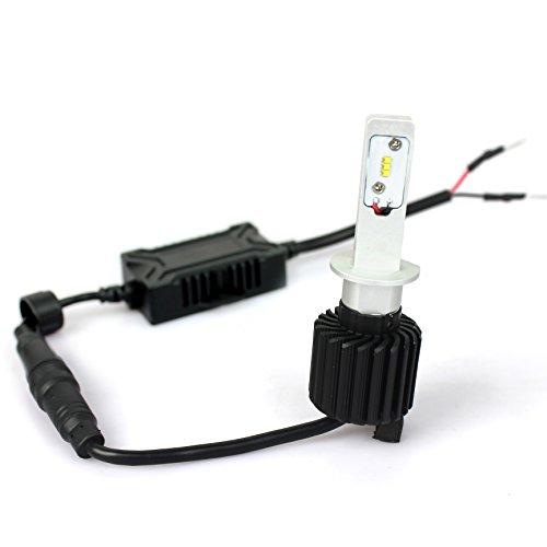 「SUPAREE」LED ヘッドライト フォグランプ H1 車検対応 8000Lm 6500k 12V/24V兼用 オールインワン ファンレス一体型 LED角度調整可能 高輝度 2個セット