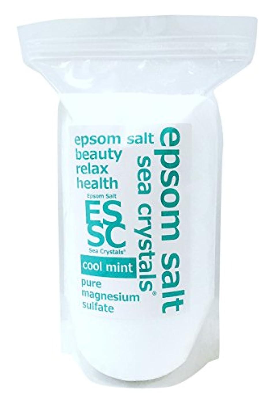喉頭便利クラッシュシークリスタルス 国産 エプソムソルト(硫酸マグネシウム) クールミント2.2kg 浴用化粧品 計量スプーン付