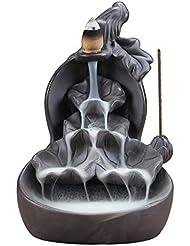SLLING 蓮 セラミック 香炉 逆流香炉ホルダー 逆流香炉 蓮の手作りお香ホルダー 滝 お香 コーン型 10個入り