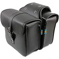 (アグロス) バイク サイドバッグ 2個 セット ブラック ツーリング 防水 大容量 アメリカン (ブラック)