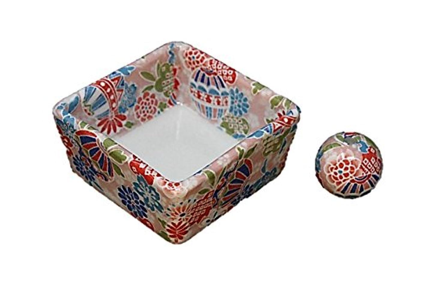 十年たぶん昆虫和モダン 京雅桃 お香立て 陶器 角鉢 製造直売品