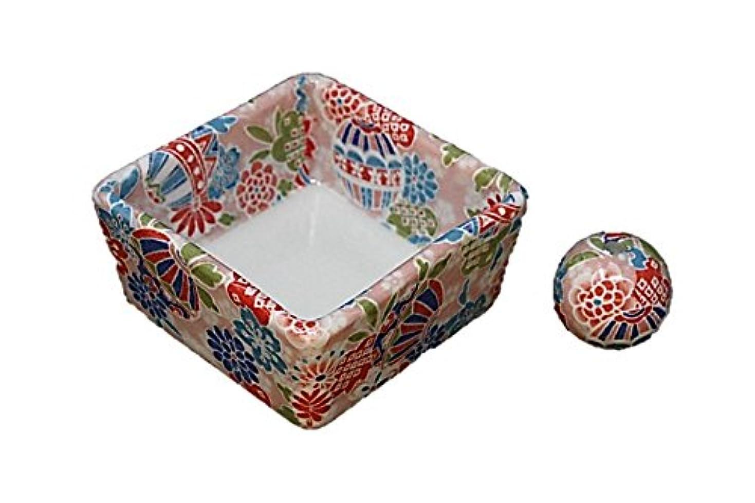 後世ボンド振る和モダン 京雅桃 お香立て 陶器 角鉢 製造直売品