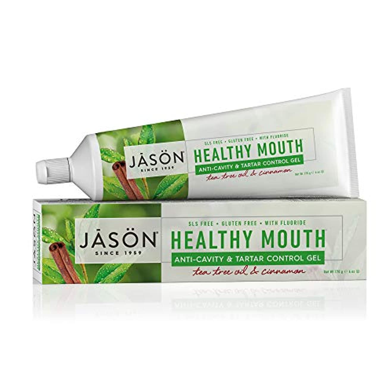 枯渇するシャベルゲートウェイJason 健康な口抗歯垢&タルタルコントロールハミガキティーツリーオイル&シナモン、6オンス