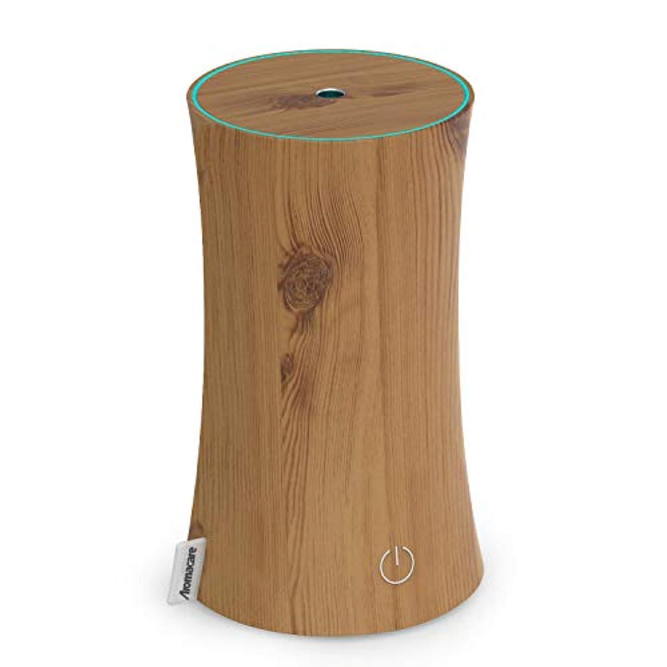 一人で失速棚アロマディフューザー 卓上加湿器 センサー付き 超音波式 空焚き防止 低騒音 300ml 連続運転 各場所用 省エネ 木目調 木の色