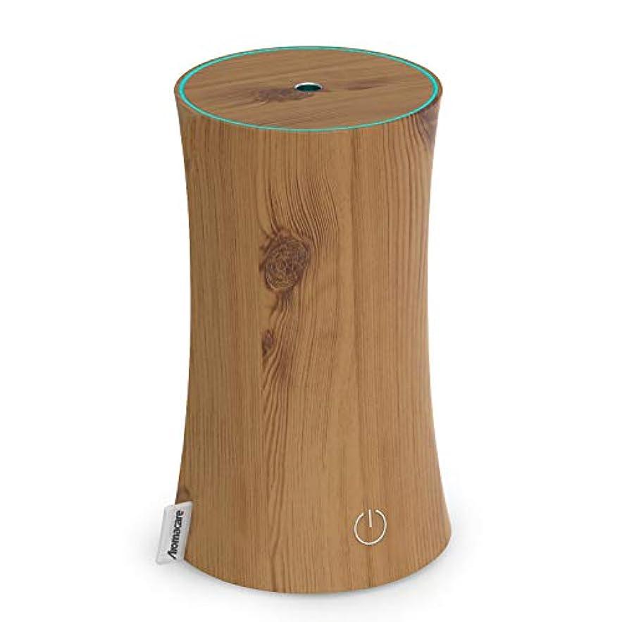 リラックスした囲まれた関与するアロマディフューザー 卓上加湿器 センサー付き 超音波式 空焚き防止 低騒音 300ml 連続運転 各場所用 省エネ 木目調 木の色
