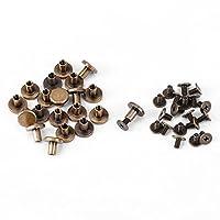 FTVOGUE 20ピース メタルリベット フラットヘッド 銅真鍮ネジナット 釘リベット レザーキャップ アクセサリー コートキャップバッグ装飾用(8mm)