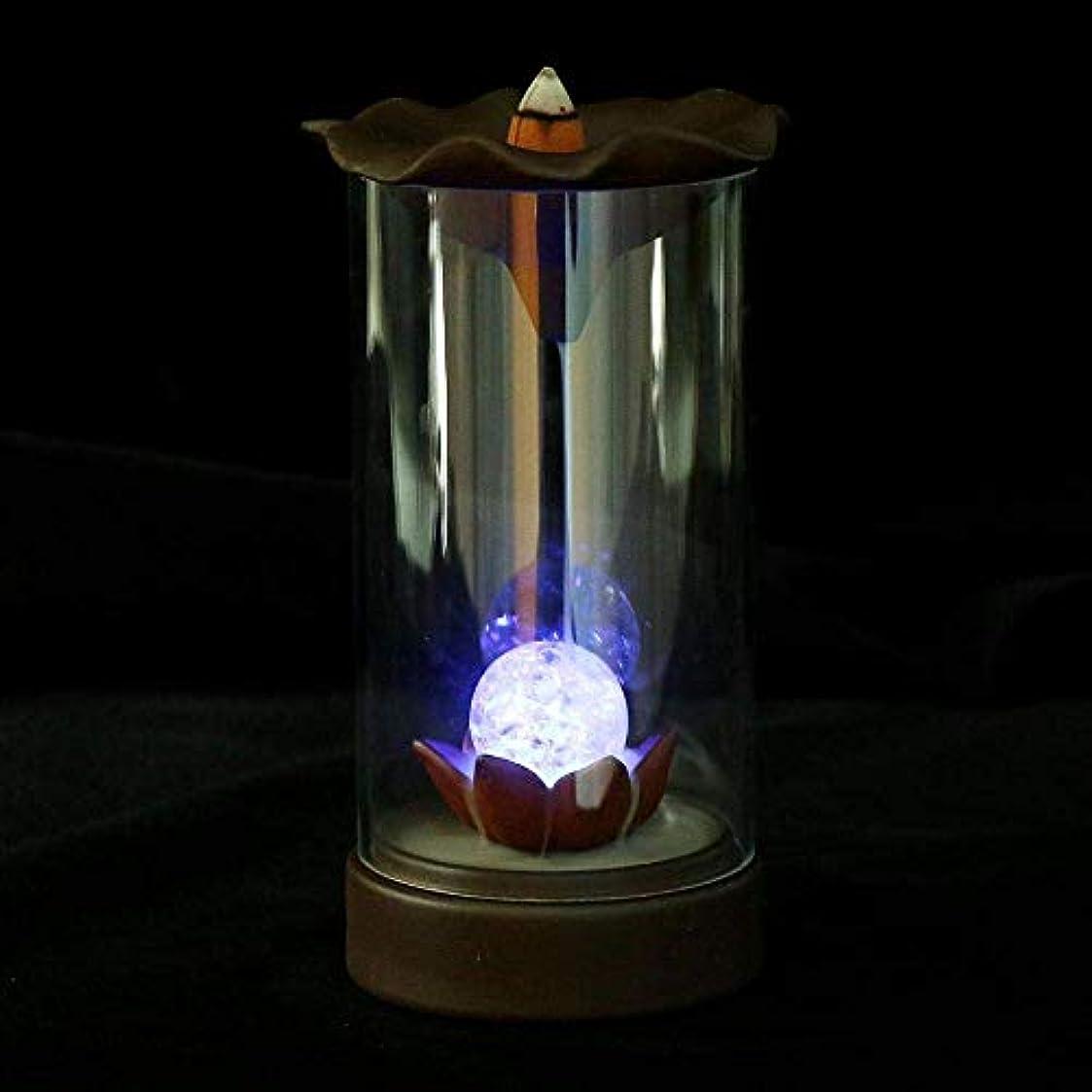 バッフル連鎖ピックYYW お香立て 逆流香炉 滝 煙 LEDライト お香ホルダー コーン 自宅 オフィス 装飾 10個のコーン付き