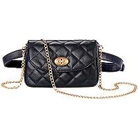 (Black- Plaid) - Badiya Fashion Quilted Bumbag Mini Leather Multifunction Waist Fanny Pack Belt Bag for Women Cross Body (Black- Plaid)