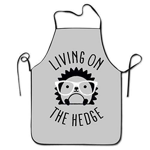 ユニセックスLiving on the Hedge Hedgehog with Glassesキッチンエプロンシェフ One Size ブラック Jeremiah-10327027