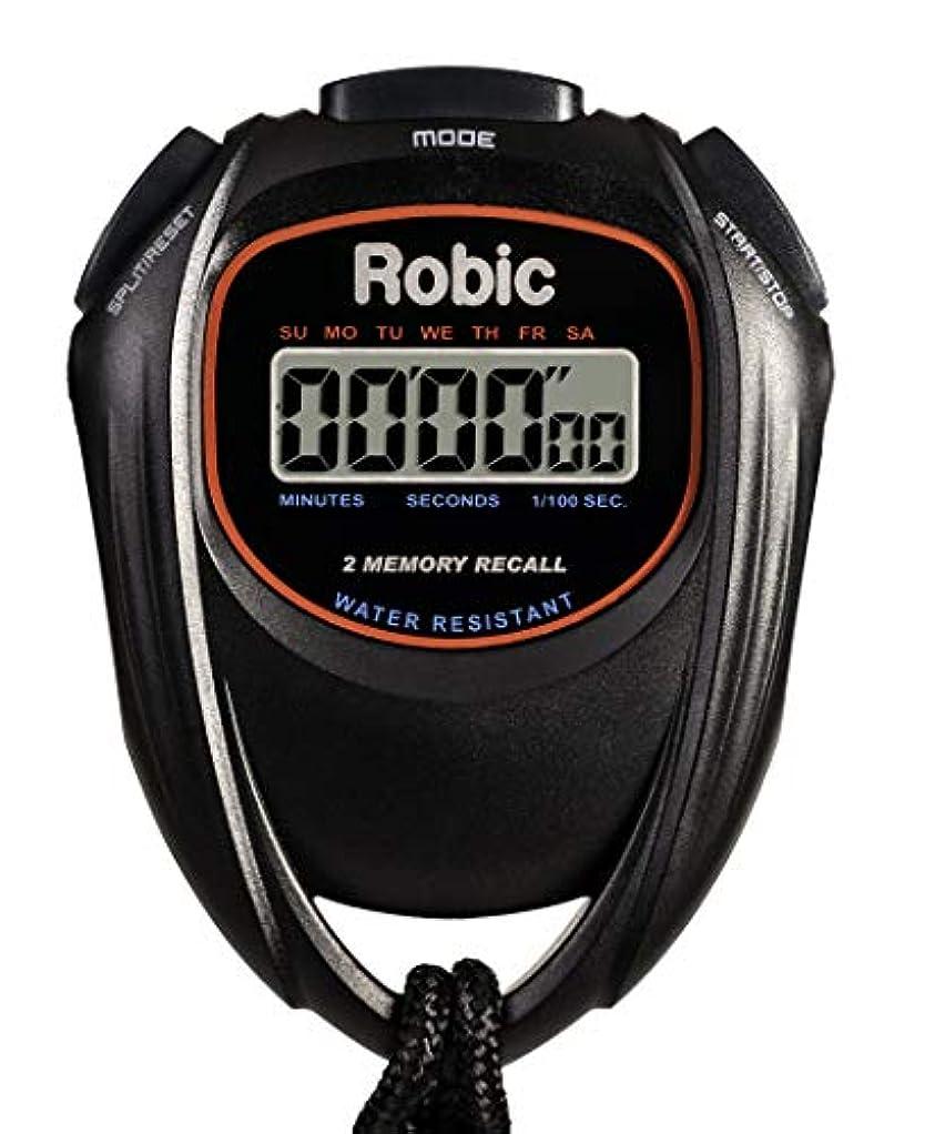 望み豊富困惑するRobic 使いやすい 高精度 ストップウォッチ 防水 メモリ2個 ストップウォッチ ブラック