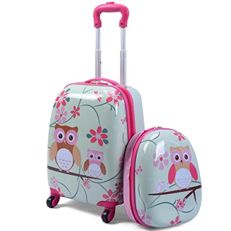 BestBuy キッズ用 子供用 スーツケース キャリーケース リュックサック 幼稚園 可愛い 動物柄 旅行 2点セット 機内持込み ABS素材 誕生日ギフト (ピンク)