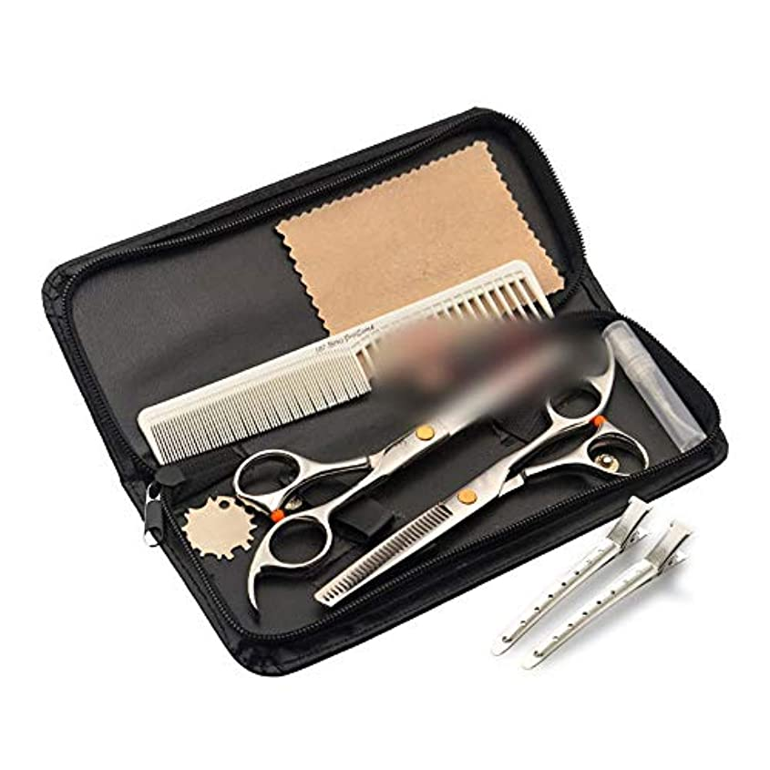 うがい実現可能性ヒョウWASAIO プロフェッショナル理髪はさみセット理容サロンレイザーエッジツールヘアカット間伐歯シアーズテクスチャーシザーマット付き+トゥースツール6.0インチ (色 : ゴールド)