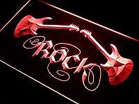 ADVPRO Guitar Rock n Roll LED看板 ネオンプレート サイン 標識 Red 600 x 400mm st4s64-i047-r