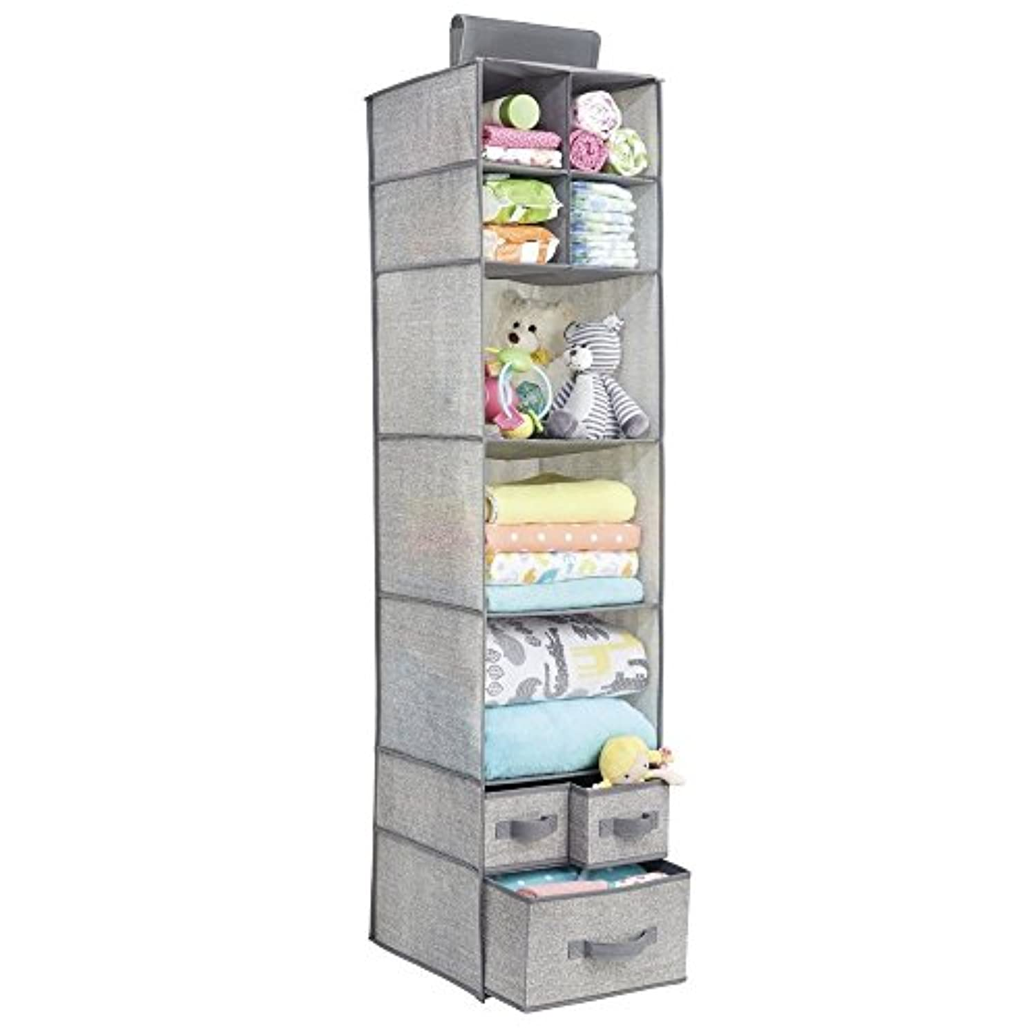 High Quality Aldo Fabric Hanging Closet Storage Organizer, for Clothing, Sweaters, Shoes, Accessories - 7 Shelves and 3 Drawers, Gray