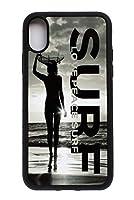 iPhoneXS/iPhoneXケースケース サイドシリコンラバー Love Peace Surf サーファーガール サンセット アートフォトグラフィックプリント アイフォン・テン/テンエス (5.8inch)用ケース SurferGirlSunsetSS