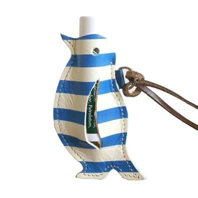 【鳥・ペンギングッズ・本革レザー】ペンギンのかたちをしたリップクリームケース クアトロガッツ(ブルー&ホワイトストライプ)