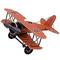 IUU レトロ錬鉄製の装飾品 航空機モデル ダブルウィング大型航空機モデルク 飛行機モデル グライダー複葉機 軍用機モデル 子供部屋リビングルームワインキャビネット ホームデコレーション (レッド)
