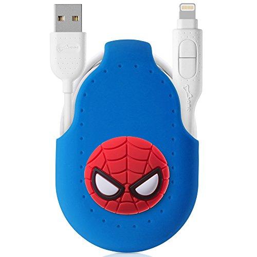 Marvel公式ライセンス 2in1 ライトニング ケーブル Lightning Micro USB 巻き取り Apple認証 【USB 2.0 2.4A 急速充電 1M コード ホルダー 付き シリコン 高速データ転送 かわいい マーベル キャラクター ボタン 収納便利 】 おしゃれ プレゼント iPhone ケーブル マイクロ ケーブル iPhone iPad Android 等対応 / スパイダーマン(ブルー)