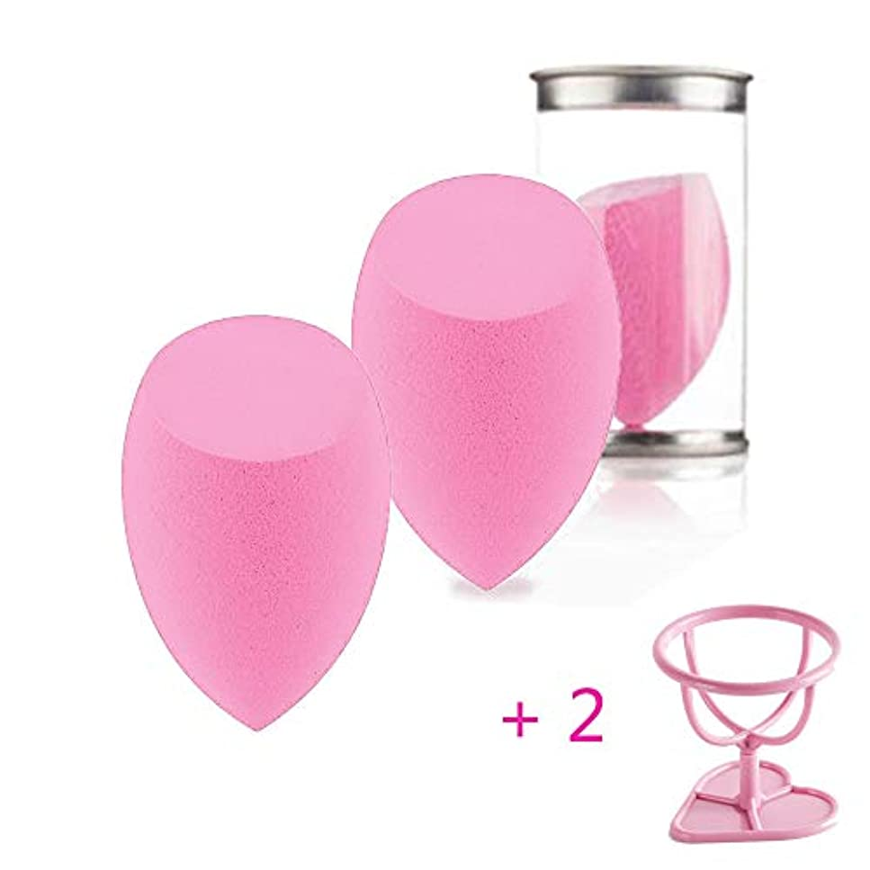 咽頭八百屋さんチート2 PCS メイク用 多機能 スポンジパア ファンデーション用 メイクスポンジ テクスフリー 乾湿兼用 (ピンク)+2スポンジホルダー