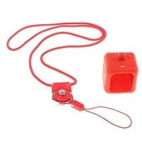 Dovewill ポラロイドキューブアクションカメラに対応 ネックレス ストラップ付き ペンダント ケース シリコンカバー 傷つけ防止 薄型 超軽量 全面保護型 全3色 - 赤