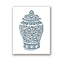 XKHSD 青と白のジンジャージャーキャンバスポスタープリントシノワズリー花瓶アートキャンバス絵画壁写真用リビングルーム家の装飾